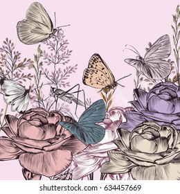 Retro styled botanical background with roses and butterflies