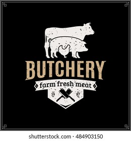 Retro styled butcher shop gold and white logo with farm animals and knives