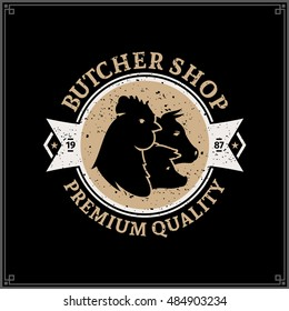 Retro styled butcher shop gold and white logo with farm animal icons