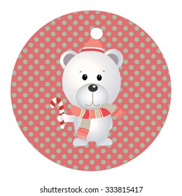 Retro styled Christmas Card with Bear - vector template with copy space