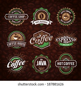Retro styled coffee emblems vector set on coffee seamless background.