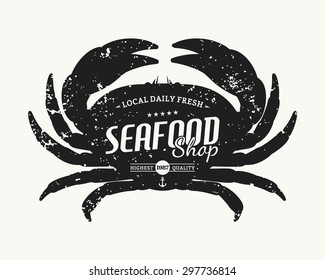Retro styled crab silhouette seafood shop label