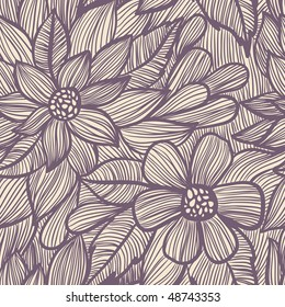 Retro styled floral seamless pattern