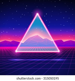 Retro styled futuristic landscape with triangle and shiny grid.