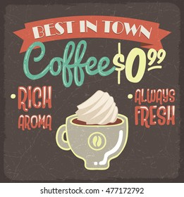 Retro styled grunge poster with fresh coffee and creme