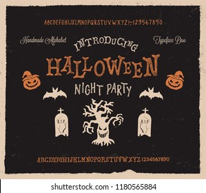 Retro Styled Halloween Font. Vintage Hand Drawn Typeface Duo. Inspired by Old Comic Books and Scary Movie Posters. Vector Illustration