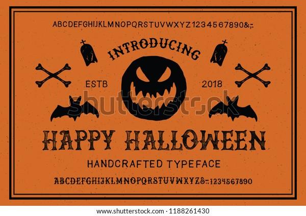 Retro Styled Halloween Font Vintage Hand Stock Vector