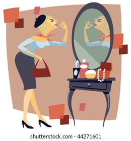 retro styled illustration with pretty woman doing make up at the mirror