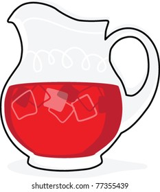 Retro Styled Illustration of Punch in a Pitcher
