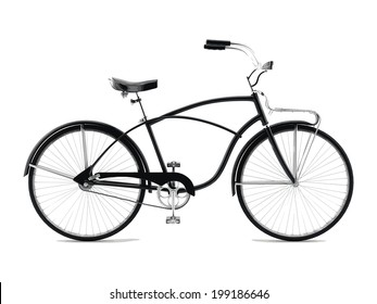 Retro styled image bicycle isolated on a white background. Vector