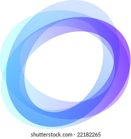 Retro styled interlocking circles in shades of blue and purple on white background