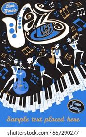 Poster du Jazz Club de style rétro avec une illustration de style Abstrait d'un groupe de jazz dynamique et d'un chanteur de plomb super cool qui frappe une pose élégante et joue un spectacle musical en direct sur scène.
