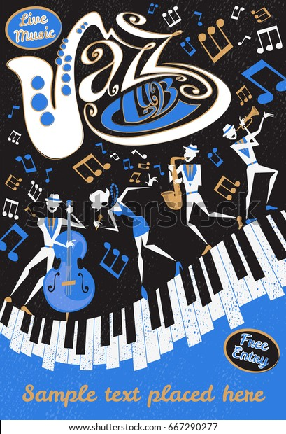Retro styled Jazz Club Poster featuring an Abstract style illustration of a vibrant Jazz band and super cool lead singer who is striking a stylish pose and playing a musical performance live on stage.