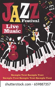 Retro styled Jazz festival Poster featuring an Abstract style illustration of a vibrant Jazz band and super cool lead singer who is striking a pose and playing a musical performance live on stage.