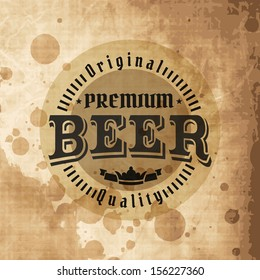 Retro styled label of beer. Good as a template of advertisement. Editable layered vector.