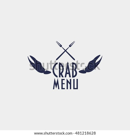 Retro Styled Label Crab Claws Two Stock Vector Royalty Free