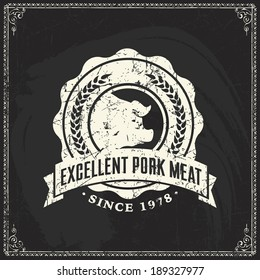 Retro styled labels of butcher shop.