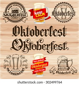 "Retro styled labels set with beer mug and the text ""Beer festival Oktoberfest"" on wooden background. Vector illustration."