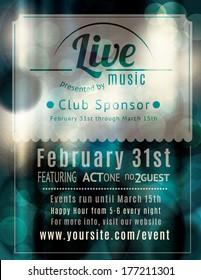 Retro styled Live music venue flyer