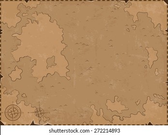 Retro styled map of the sea. Vector design for app game user interface
