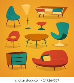 Retro styled modern furniture. Household series vector illustration.