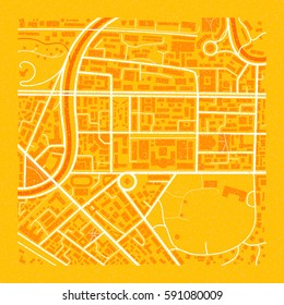 Retro styled orange vector city map