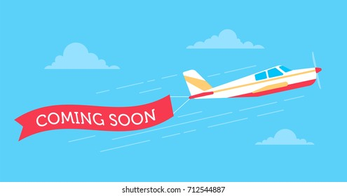 Retro styled plane with the ribbon. Flat design illustration. Perfect for web banners and advertisement.