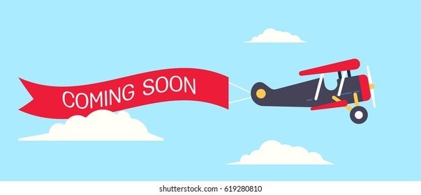 Retro styled plane with the ribbon and text coming soon. Flat design illustration. Perfect for web banners and advertisement.