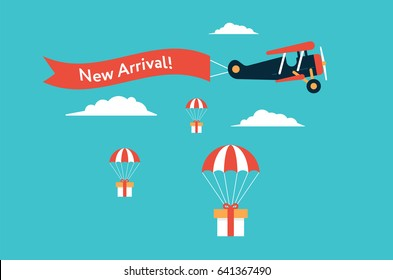 Retro styled plane with the ribbon and text new arrival and gifts for potential customers. Flat design illustration. Cool concept perfect for web banners and advertisement.