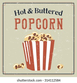 Retro styled poster with buttered popcorn in a bag