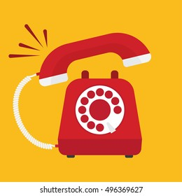 Retro styled red telephone ringing. Flat design vector illustration concept