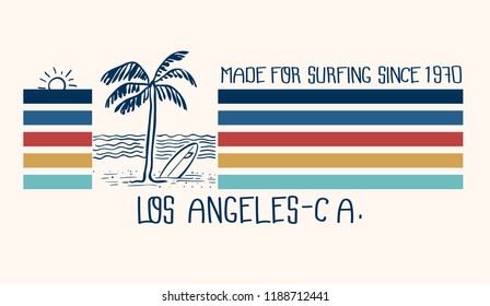 retro styled surfing graphic work
