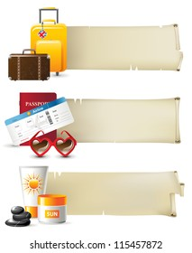 Retro styled travel banners
