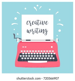 Retro Styled Typewriter with Sheet of Paper and Creative Writing Sign. Vector Design