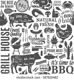 Retro styled typographic vector barbecue seamless pattern or background.