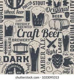 Retro styled typographic vector beer seamless pattern or background.