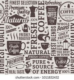 Retro styled typographic vector coffee shop seamless pattern or background.