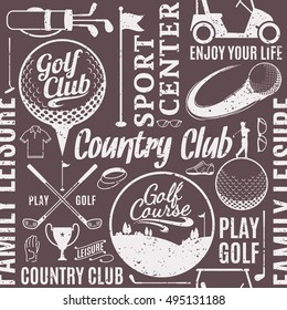Retro styled typographic vector golf club seamless pattern or background.
