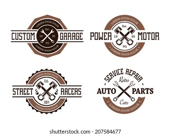 Retro styled vector auto emblems.