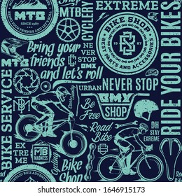Retro styled vector blue and teal typographic bicycle seamless pattern or background. Bike shop, mountain, bmx and road biking design elements