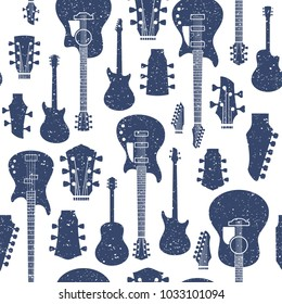 Retro styled vector guitars pattern or background