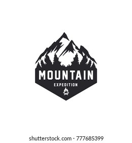 Retro styled vector mountain and outdoor adventures logo. Tourism, hiking and camping labels. Mountains and travel icons for tourism organizations, outdoor events and camping leisure.