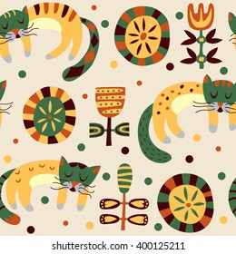 Retro stylish pattern with cute cats. Bright cartoon vector seamless background
