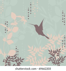 Retro stylized floral background with a flying bird