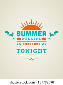 Retro summer design poster. Summer holidays typography. Vector illustration.