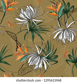 Retro summer exotic flower ,leaves and foliage forest seamless pattern vector in hand drawn style for fashion fabric and all prints on line sktech on stylish brown background color