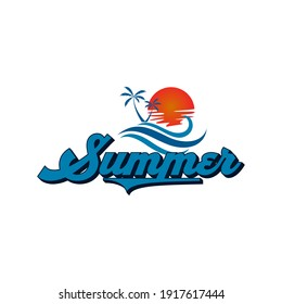 retro summer logo  icon and template
