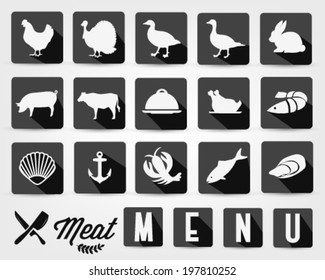 Retro Summer Meat Menu Icons with Long Flat Shadow