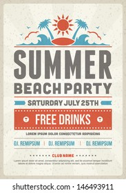Retro summer party design poster or flyer. Night club event typography. Vector template illustration.