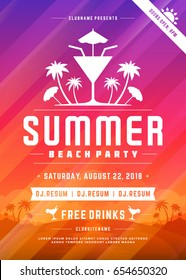 Retro summer party design poster or flyer on abstract background. Night club event typography. Vector template illustration EPS 10.